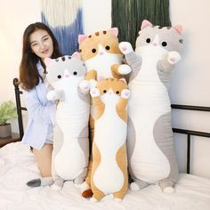 Product ID: Size: 70 CM Length 70 cm Width 19 cm 90 CM Length 90 cm Width 23 cm Length 110 cm Width 26 cm Material: Plush + high quality fluffy cotton filling toys kawaii Cat Kitten Dolls Chat Kawaii, Kawaii Cat, Plush Dolls, Doll Toys, Dolls Dolls, Kittens Cutest, Cats And Kittens, Kawaii Room, Cute Stuffed Animals