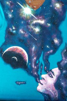"""""""El Universo"""", Me provoca melancolía, un buen día de exposición y pintar en vivo esta belleza. Por 📷@brayanamis"""