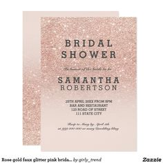 Rose gold faux glitter pink bridal shower card A modern, original and simple faux rose gold glitter ombre bridal shower party invitation on a fully customizable blush pink color background. Perfect for chic, elegant theme wedding