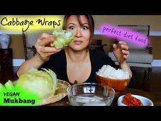 BIG BITE CABBAGE WRAP Recipe & Mukbang • VEGAN - YouTube