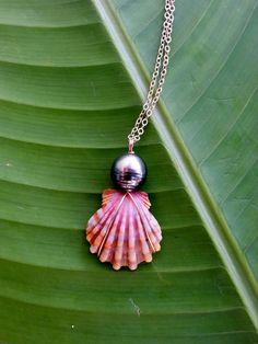 Sunrise Shell Pink Orange Peacock Green by shandahawaiiandesign, $130.00