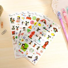 6 sheets/lot Cartoon Dog and Girl Sticker PVC Cartoon Stickers Diary Sticker Scrapbook Decoration PVC Stationery Stickers