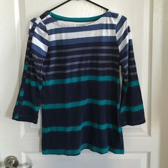 Anthro Pilcro Striped Top Size M Multi-stripe top in various colors. Sleeves aren't full length, but end just above the wrist. Buttons down the right sleeve from shoulder to wrist. Only flaw is some light discoloration underneath the right armpit, but isn't that noticeable when worn. Price reflects wear. No trades or Paypal. Anthropologie Tops Tees - Long Sleeve