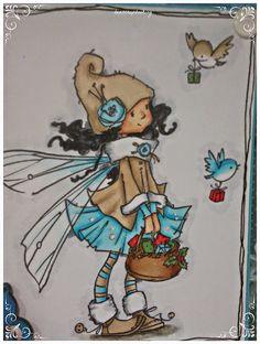 TARJETAS- RECETAS NAVIDAD CON SELLOS SUGAR NELLIE:  -Piel: E11, E21, E00, R20 -Cabello: C8, C6, C4, C2 -Abrigo, gorro, calcetines, bota y pajarito marrón: E43, E42, E41 -Falda, flor del gorro, medias, alas y pajarito azul: BG07, BG 05, BG 01, BG 0000 -Cuello abrigo, mangas y parte superior de botas: C4, C2, C0, blender -Fondo: C4, C2, C0, blender, W7, W5, W3, W1 -Cesta: E57, E25, E31 -Rojos y verdes: R37, R27, G99, G94, G24 Copic Drawings, Christmas Bird, Digi Stamps, Painted Rocks, Fairies, Pixie, Machine Embroidery, Illustration Art, Arts And Crafts
