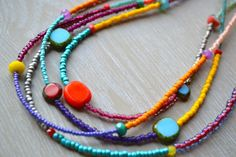 Colorful Fun Four Strand Beaded Necklace Boho by uniquebeadingbyme
