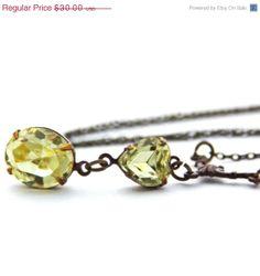SALE Jonquil Yellow Swarovski Necklace Vintage by JewelryByMagda, $24.00