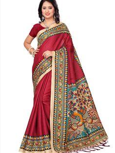 5f79f659ea Dark Magenta Khadi Silk Printed Saree With Fancy Tassels #Khadi #Silk # Printed #