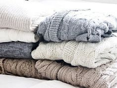 Stacks and stacks of sweaters.