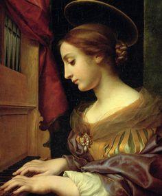 "C ~ Carlo Dolci ""Santa Cecilia"" Local Painters, Italian Painters, Italian Artist, Patron Saint Of Music, Sainte Cecile, Baroque Painting, Portraits, Art Sites, Sacred Art"