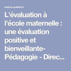 L'évaluation à l'école maternelle : une évaluation positive et bienveillante- Pédagogie - Direction des services départementaux de l'éducation nationale du 17 - Pédagogie - Académie de Poitiers
