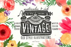 Check out 20%*OFF*Vintage objects & watercolor by kite-kit on Creative Market