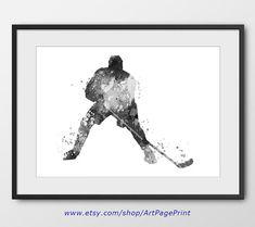 Hockey Black and White Poster No3, Sport Wall Art, Sport Poster, Hockey Decor, Abstract, Hockey Player Watercolor Print, Hockey Art (A0458)