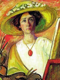 Gabrielle Munter self portrait 1909. hat