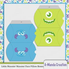 Monster Face Pillow Boxes, perfect for goody bags and favors for monsters inc themed birthday parties and baby showers