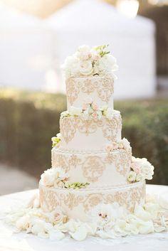 Wedding - Gorgeous White Wedding Cake And Flowers