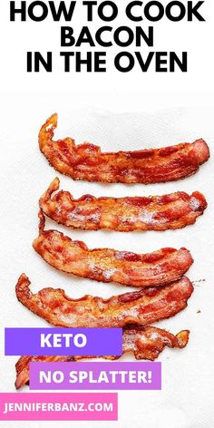 A step by step guide to cooking crispy and perfect bacon in the oven how to keep your oven door clean and how to save the bacon grease! Baking bacon in the oven is so easy! Bacon Recipes, Quick Recipes, Low Carb Recipes, Real Food Recipes, Cooking Recipes, Cooking Food, Low Carb Pancakes, Low Carb Breakfast, Breakfast Recipes