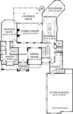 Craftsman Style House Plan - 4 Beds 4.5 Baths 4304 Sq/Ft Plan #453-22 Floor Plan - Main Floor Plan - Houseplans.com