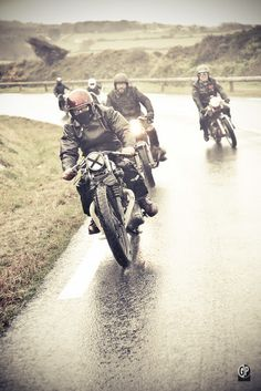 Cafe Racing In the rain .... Cafe Racing...where men and women often ride side by side equally.
