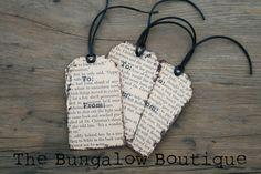 Vintage book page gift tags - DIY tutorial.