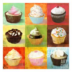 Clicart 'Enjoy Cupcakes' by Cory Steffen Wrapped Canvas Print Cupcake Painting, Cupcake Art, Cupcake Crafts, Cupcake Drawing, Painting Prints, Canvas Prints, Art Prints, Mini Cupcakes, Giclee Print