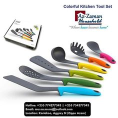 This must-have kitchen utensil set is made up of 6 essential kitchen tools which includes a spaghetti server, slotted spoon, ladle, solid spoon, slotted turner and flexible turner. They have a nylon head, perfect for use with non-stick cookware as they are heat-resistant up to 200°C/392°F. Each also has a heat-resistant silicone handle in brilliantly bright colours to add a dash of colour to your kitchen. These kitchen tools all include a tool rest and a weighted handle which means when you…