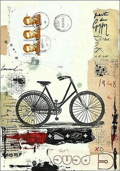Original Mixed Media Collage Art Bicycle Vintage Painting Modern Abstract Drawin