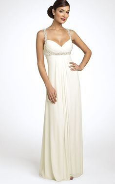 Unique Sheath Sleeveless Spaghetti Straps Chiffon Floor-length Evening Dresses - Formal Dresses - Wedding Dresses