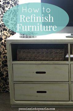 How to Refinish Furniture - Repurposed Dresser - How to Refinish Furniture – penniesintopearls… – Tips on how to refinish furniture easy and q -
