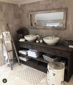 How gorgeous is this spa bath!?  : @husetpaanordseth . . #bathroominspo #bathroomdecor #bathroomideas #bathroomremodel #bathroomdesign #bathroompics #rustichome #rusticstyle #rusticdecor #rusticwood #stonewall #stonework #stonemountain #blanketladder #ladder #wooddecor #wooddecorwednesday #farmhouse #farmhousestyle #farmhousedecor #vanity #vanitytable #sink #baskets #towel #faucet #homedecorating #onetofollow #swoon #swoonworthy