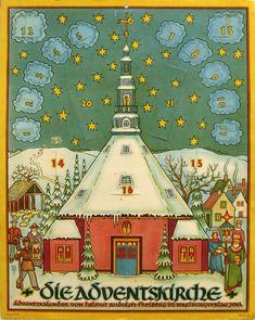 Antike Ornamente Papier und Glasgespinst Advent Karten Adventskalender Adventkalender