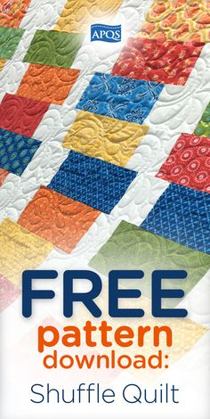 """The """"Shuffle Quilt"""" is a great solution for using up those layer cakes you have accumulated and would also put a good dent in the scrap pile if that is what you prefer. Download it for FREE!"""
