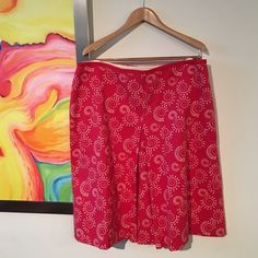 """Boden Cotton Print Skirt Never worn. Happy patterned A line skirt with a front split pleat and ribbon trimmed waist. Side zipper and fully lined. Purchased from Boden online. Size 20 Regular. Measurements taken while flat: Waist width = 19""""  Length = 26""""  Hip width = 26"""". Hem width = 31"""" Boden Skirts A-Line or Full"""