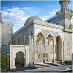 Mosque Design (Masjed) on Behance Mosque Architecture, Neoclassical Architecture, Architecture Wallpaper, Architecture Concept Diagram, Futuristic Architecture, Beautiful Architecture, Bungalow House Design, House Front Design, School Building Design