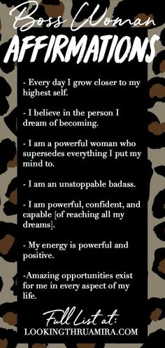 The List of Powerful Affirmations that Changed My Life - Quote Positivity - Positive quote - The list of Boss-Woman Affirmations that Changed my life and gave me unshakable confidence! Affirmations Confidence, Affirmations For Women, Daily Positive Affirmations, Positive Affirmations Quotes, Morning Affirmations, Affirmation Quotes, Positive Quotes, Motivacional Quotes, My Life Quotes