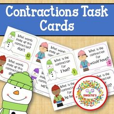 Contraction Task Cards - Winter by Sweetie's | Teachers Pay Teachers Learning Goals, Learning Resources, Teaching Ideas, Literacy Centers, Literacy Activities, Kindergarten Blogs, Made Up Words, School Reviews, Learn To Spell