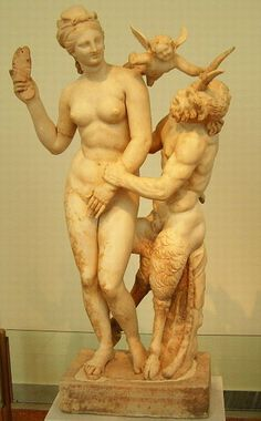 Aphrodite, Pan and Eros marble statue found in Delos from 100 BC