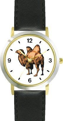 Bactrian Camel Animal - WATCHBUDDY® DELUXE TWO-TONE THEME WATCH - Arabic Numbers - Black Leather Strap-Size-Children's Size-Small ( Boy's Size & Girl's Size ) WatchBuddy. $49.95. Save 38% Off!