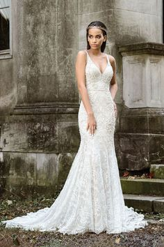 Justin Alexander Signature - Style 9872: Stretch Fit and Flare Gown with Sheer V-Neck and V-Back
