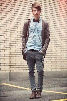 Men's Fashion | Bowtie, denim shirt...