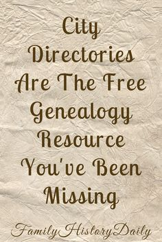 Free Genealogy Resources: City and county directories may hold the family history breakthrough you're looking for. Free Genealogy Sites, Genealogy Research, Family Genealogy, Genealogy Humor, Genealogy Chart, Family Tree Research, Genealogy Organization, Family History Book, Me Time
