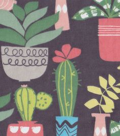 Snuggle Flannel Fabric Cactus