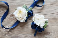Rustic corsage Royal blue corsage Pinecone Ivory Rose