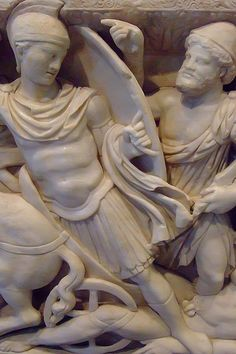 Roman Sarcophagus with Scenes from the Life of Achilles made in Attica Greece CE Marble Attica Greece, Getty Villa, Ancient Greek Art, Roman Architecture, Achilles, Memento Mori, Sculpture, Statues, Marble