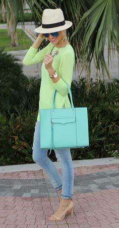 neon j.crew sweater + gap skinny jeans + zara nude heels + forever21 hat + rebecca minkoff bag
