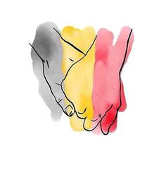 Ils osnt quelques-uns à avoir utilisé cette poignée de mains sur les couleurs nationales belges. Ici, Miranda Kerr.