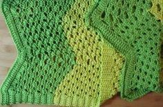Turtle Shell Ripple Afghan - the spring greens in this crochet ripple afghan make it a perfect lace project to start now!