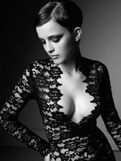 Striking | v neck | black | lace | cleavage | profile | pose | breasts | beauty | www.republicofyou.com.au