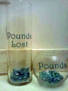 Pounds lost in the skinny jar  Pounds to go in the fat jar!