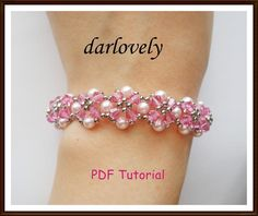 Rose Pearl Flower Bracelet from darlovely | Check out patterns on Craftsy!