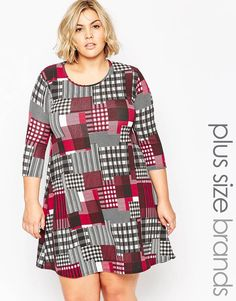 Praslin Plus Size Swing DressIn Check Print